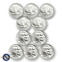 Lot of 10 -- New 1/10 oz Indian Buffalo Design .999 Fine Silver Rounds