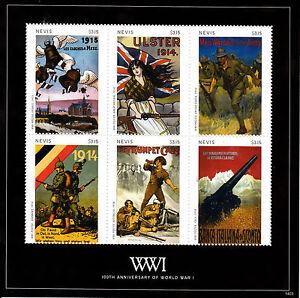 Nevis 2014 MNH WWI WW1 First World War I 100th Anniv War Posters 6v M/S I Stamps