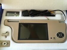 "Valor Dual Car Sun Visors 7"" 16:9 TFT LCD Color Monitor + Mirror Visor Set - TAN"