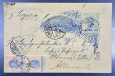 "BRAZIL to GERMANY 1897 nice upr PSC PostCard by Ship ""Liguria"" PERNAMBUCO to..."