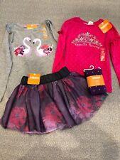 Nwt Gymbore girl pink purple swan princess tulle skirt Winter 4-piece Set 4 4T
