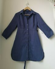 BODEN blue linen button down arty lagenlook tie back shirt top size 12