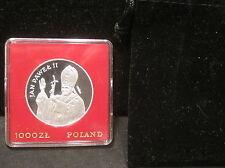 1982 Poland 1000z Proof Silver Pope Commem.-  Comes In Black Velvet Pouch