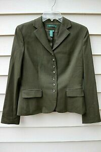 Vintage Ralph Lauren Wool Green Blazer W/ Row of Buttons - Sz 6 - EUC