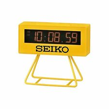 "Seiko QHL062Y Yellow ""Countdown"" Style Digital Timing Snooze Alarm Clock + Stand"