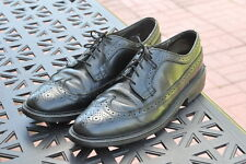 Mens Black Leather Dress Wingtip Oxfords Shoes Size 10 B Made In USA