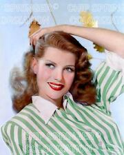 RITA HAYWORTH WEARING A GREEN STRIPE SHIRT STUNNING COLOR PHOTO BY CHIP SPRINGER