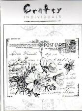 New CLING Crafty MAGENTA Rubber Stamp Floral vintage Post Card Free usa ship