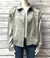 St.John Sport By Marie Gray Designer Metallic Gray Jacket Size XL
