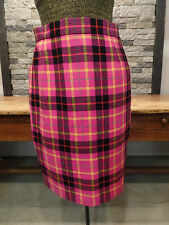 Vintage ESCADA Skirt 100% New Wool Hot Pink Plaid Lined Pencil Women's Size 36