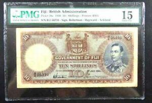 FIJI 1940 10 /- Shillings P 38c * King George VI * PMG 15 CHOICE FINE
