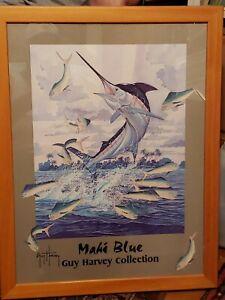 GUY HARVEY COLLECTION MAHI BLUE HAND SIGNED GUY HARVEY FRAMED ART