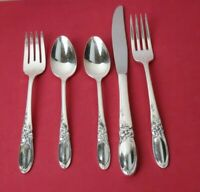 5 pc. WHITE ORCHID by Oneida Community  Silverplate Flatware Place Setting