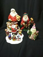 VTG Santa Figurine Lot Of 4 Ceramic Porcelain Resin Department 56 Christmas