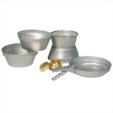 5Pc Aluminio Camping Cook Cocina Set Cacerola 2 Ollas Alcohol Quemador Viajes Bu