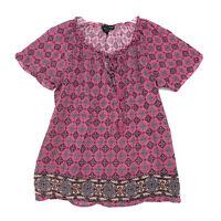 Valerie Bertinelli BOHO Peasant Tunic Top Sz M Medium Pink Rose Red SS Gauzy