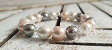 10mm Pink /Grey/White Shell Pearl Elastic Bracelet with Crystal Beads