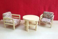 Sessel mit Tisch 30 er Jahre Puppenstube Holz Möbel Paul Hübsch Wohnzimmer