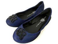 Rock & Republic Ballerina Flats Shoes Blue w Black Mesh Size 6.5 M