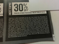 30% Off - Hot Topic Coupon In Store Only Discounts Expire 12/31/2021