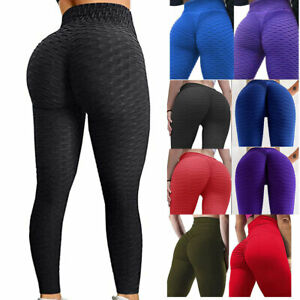 Womens High Waisted Yoga Pants Anti-Cellulite Leggings Ruched Gym Booty Fitness