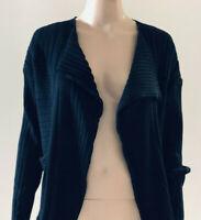 Babette Women's Black Art-To-Wear Pleated Cotton Knit Open Front Cardigan Size M