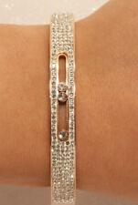 "14k Diamond Bangle Bracelet 7.25"" Rose Gold Finish 3 Carats For Women"