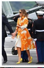New Dries Van Noten Orange Floral Printed Cotton Twill coat, Small Aso Flotus