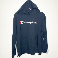 NEW Champion Pullover Black Logo Top With Hood Size Large Women's