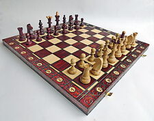 NEW HANDCRAFTED CONSUL WOODEN CHESS SET WITH WEIGHTED PIECES 47CM /18.8 INCHES
