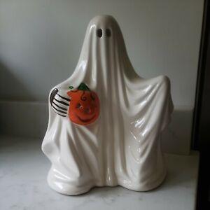 Vintage Ghost Jack-O-Lantern Pumpkin Halloween Ceramic Russ-Berrie Candle Holder