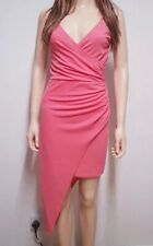 Quiz Pink Wrap Asymetric Dress Size 8 With V Neck From And Ruffle Side