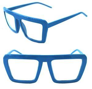 Men's Women's Square Shape Retro Vintage Clear Lens Eye Glasses Blue Hip Hop EDM