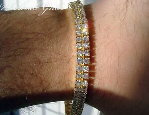 NEW$150 MENS 2 ROW GOLD GP SIMULATE DIAMOND OUT TONI ICED HIPHOP TENNIS BRACELET