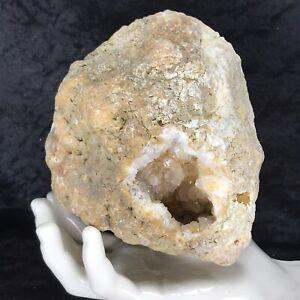 """6"""" Large Hollow Geode Golden Healer Crystal Natural Unopened Quartz 3.12Lb KY"""