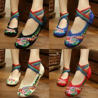 Women's Folk Chinese Embroidered Flower Flats Ankle Strap Ballet Pump Shoes~