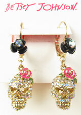 Betsey Johnson BETSEY VAMPIRE Crystal Pave Skull Rose Drop Earrings NEW