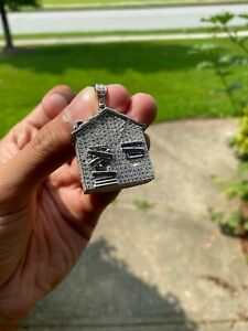 14K White Gold Plated 925 Silver Hip Hop CZ Atlanta Trap House Iced Out Pendant