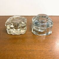 Vintage Art Deco Glass Pair of Individual Inkwells