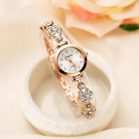Elegant Womens Lady Quartz Wrist Watch Rhinestone Stainless Steel Strap Bracelet