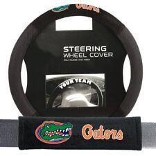 Florida Gators Steering Wheel Cover Poly Mesh Suede Seat Belt Pads Gift Set