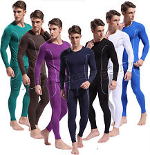 Men Bamboo Fiber Long Sleeve Shirt + Long Johns Thermal Underwear Set Home Pants