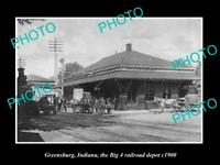 OLD LARGE HISTORIC PHOTO OF GREENSBURG INDIANA, THE RAILROAD DEPOT STATION 1900