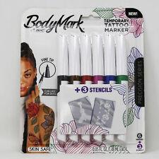BiC BodyMark Body Art Temporary Tattoo Markers Fine Tip 6 Pack Skin Safe, NEW!!!