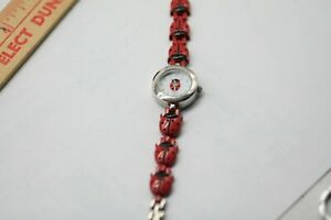 Ladies LADYBUG Watch Silver Tone & Red Enamel Bracelet New Battery Running