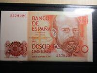 BILLETE DE 200 PESETAS DE 1980  CLARIN  SIN CIRCULAR SIN SERIE