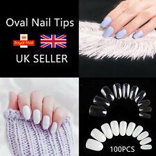 100PCS French Acrylic False Nail Tips Half Cover Oval Natural Clear UK SELLER