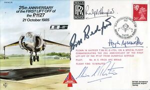 RAF Hawker Harrier VTOL Test Pilots and Designers multi signed aviation cover