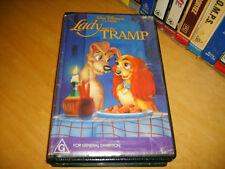 VHS *LADY AND THE TRAMP(1955)* RARE AUSTRALIAN DISNEY 80's BLACK DIAMOND EDITION