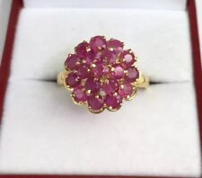 14k Solid Yellow Gold Round Shape Ring, Natural Ruby .Sz 8.25. 3.53 Grams